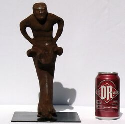 1 Of 3 Extraordinary 19th Century Cast Iron Figures Dark, Oxidized And Weathered.