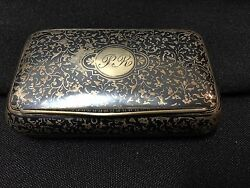 Antique Niello Sterling Silver Monogrammed Pr Snuff Trinket Pill Box By Mands Fs