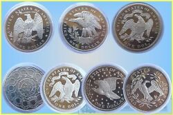 Usa. Fantasy Dollas In Sivered Base Metal Total 7 Coins