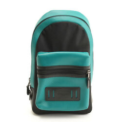 AUTHENTIC COACH MENS LEATHER SMALL BACKPACK F56877 BLACK  GREEN GR S USED -HP
