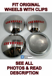 Set/4 Stainless Hubcaps W/ Red Lettering For 1947-53 Chevrolet 1/2t Pickup