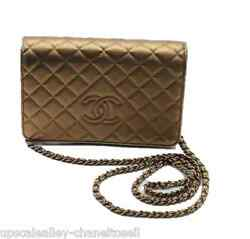 Chanel Wallet On Chain Metallic Bronze Embossed Leather WOC Bronze