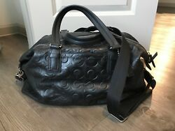 Coach Boston duffle Black with embossed C Style 77182 RARE