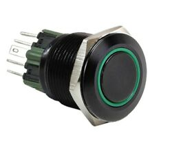 25mm Black Stainless Push Button Green Halo Angel Eye Led Momentary Light Switch