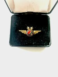 Vintage Alaska Airlines Pilot Real Diamonds 20 Year Wing Pin Made In Usa Rare