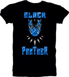 Black Panther Mask Graphic T-Shirt Marvel Comic Movie Men's Unisex Black Tee s