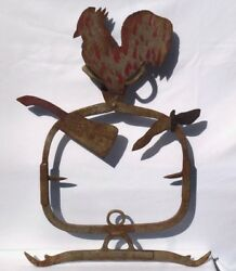 Wonderful Folky Butcher Trade Sign Hand Made From Metal Tools And Found Objects.