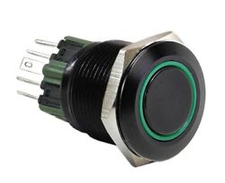 25mm Black Stainless Push Button Green Halo Angel Eye Led On / Off Light Switch