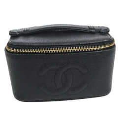 Auth CHANEL CC Cosmetic Hand Bag Pouch Black Caviar Skin Leather Vintage 910122