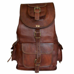 Men Leather Backpack Waterproof Laptop School Shoulder Bag Travel Bags Large