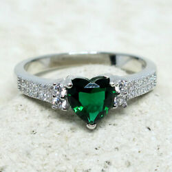 Stunning 1.5 Ct Heart Emerald Green 925 Sterling Silver Ring Size 5-10
