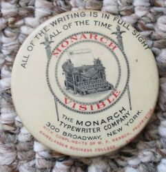 Antique Celluloid Advertising Pocket Mirror The Monarch Visible Typewriter