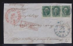 Us 31 10c Washington Type I Strip Of 3 On Cover Front To Germany Scv 3500