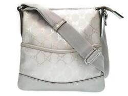 AUTHENTIC GUCCI GG Crystal Shoulder Bag Silver GG Canvas Grade A USED -CJ