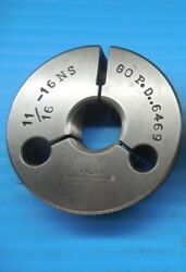 11/16 16 Ns Thread Ring Gage .6875 Go P.d. = .6469 Inspection Tooling Machinist