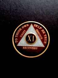 Aa Coin - Translucent Burgundy And Pearl On Gold Tri-plate - X1 Year. 11 Year