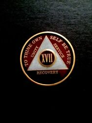 Aa Coin - Translucent Burgundy And Pearl On Gold Tri-plate - 17 Year Xv11