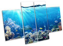 Underwater Fish Coral Marine Framed Canvas Print Four Panel Wall Art