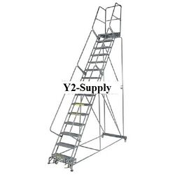New Perforated 24w 13 Step Steel Rolling Ladder 14d Top Step