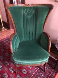 Victorian Fireside Parlor Chair Carved Wood Frame Green Mohair Detailed Tufting