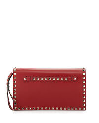 $1795 New Valentino Rockstud Flap Wristlet Clutch Bag Gold Studded Red leather