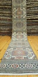 Traditional Antique 1930-1940s Wool Pile Vegy Dye Hereke Runner Rug 1and0396andtimes9and0396