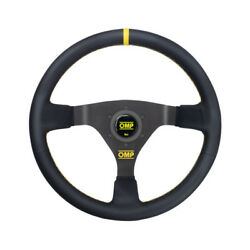 Omp Wrc Leather Yellow Stitching Steering Wheel - Size Universal