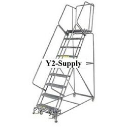 New Perforated 24w 9 Step Steel Rolling Ladder 21d Top Step