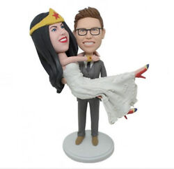 Hero Woman Wedding Bobblehead Handmade Polymer Clay Bobbleheads Cake Toppers