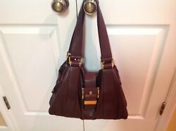 Auth MICHAEL KORS Italy Brown Leather Rehearsal Buckle Drawstring Shldr HdBg