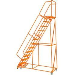 New Perforated 24w 12 Step Steel Rolling Ladder 14d Top Step W/handrails