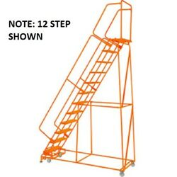 New Perforated 24w 11 Step Steel Rolling Ladder 21d Top Step W/handrails