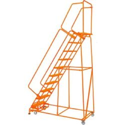 New Perforated 24w 10 Step Steel Rolling Ladder 14d Top Step W/handrails