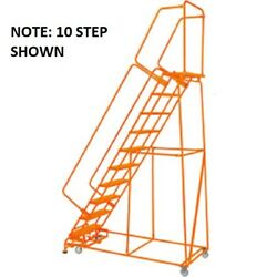 New Perforated 24w 9 Step Steel Rolling Ladder 14d Top Step W/handrails