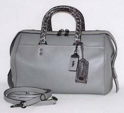 $1200 NWT Coach Rogue 1941 Snakeskin Grey Glove Pebble Leather Satchel Bag 86856