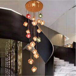 Stairs LED color glass chandeliers living rooms hall complex simple pendant lamp