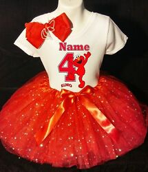 Elmo 4th Fourth 4 Birthday With Name Red Tutu Dress Fast Shipping