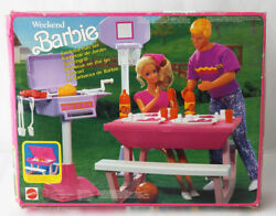 Rare Vintage 1991 Barbie Cookout Fun Set Barbeque On The Go Mattel New Sealed