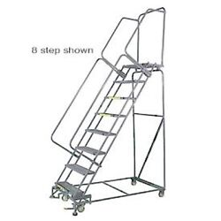 New 6 Step 24wx66d Stainless Steel Rolling Safety Ladder - Serrated Grating