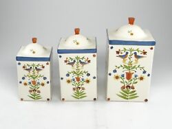 Set Of 3 Bird In Hand Cookie Jars Andrea West1982 Sigma Tastesetter Canisters
