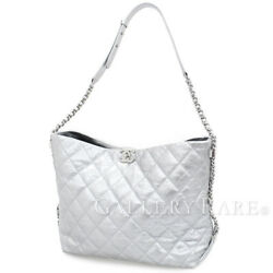 CHANEL Hobo Calf Leather Silver CC Shoulder Bag A69981 Italy Authentic 4515210