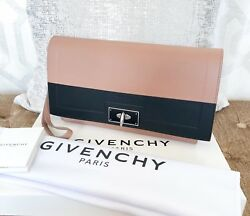 Givenchy BeigeBlack Calfskin Leather Shark Wristlet Clutch Bag