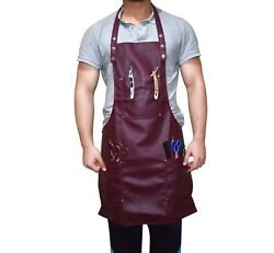 Fully Adjustable Hairdresser Apron In Maroon One Size Fits All Work Wear Barbers