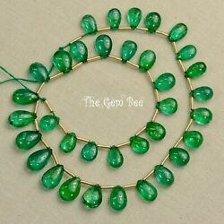 Natural Fine Zambian Emerald Smooth Pear Briolette Beads 10 Inch Strand