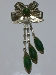 Stunning Antique Old Mexico Mexican Sterling Silver Green Stone Brooch Pin 4.75