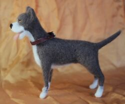 Pit Bull Terrier Needle Felted miniature Dog