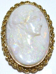 Stunning Carved Opal Cameo 14k Rope Border Pendant Or Brooch Pin 1 7/8