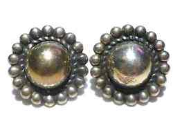 Antique Old Mexico Mexican Southwestern Sterling Silver Ball Earrings Pair