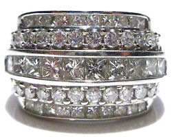 Incredible 2.50ct Princess And Round Diamond 14k White Gold Cocktail Ring Band
