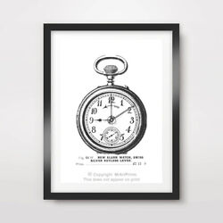 Antique Pocket Watch Bedroom Art Print Poster Room Home Decor Wall Picture Clock